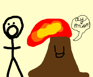 Stick man runs from smiling volcano