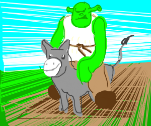 Shrek riding donkey