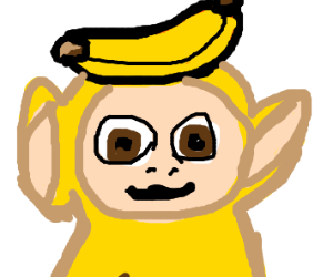 Baby yellow teletubby-monkey with banana hat