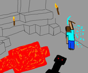 minecraft Steve mining