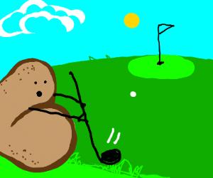Potato playing golf