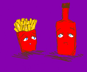 Fries and Ketchup are longing for eachother