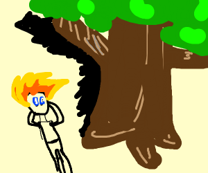 An anime person talking to himself at a tree