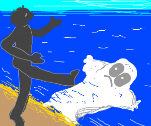 Shadow pushes ghost into ocean with his foot