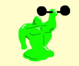 goo monster  lifting weights