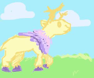 fluffy deer in a field