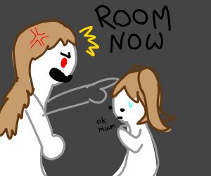 Mom shouts at kid
