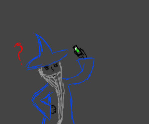A wizard is confused by a smartphone