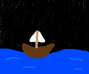 A little boat at night