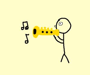 guy playing trumpet