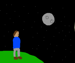 Guy looking at the night sky