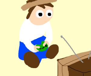 Cowboy playing video games