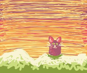 tiny purple gnome cat animal thing very cute