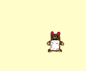 Tiny bear consumes marshmellows