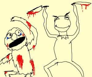 Elmo vs Evil Kermit