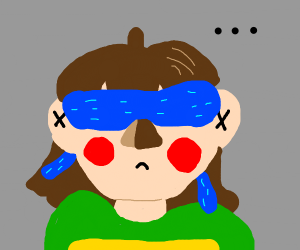 Chara from Undertale doing the bird box chal.