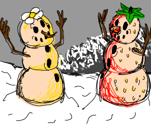 Vanilla Snowman and Strawberry Snowman