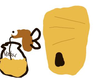 A wasp high on nectar