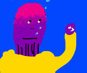 thanos drowning while holding a golf ball