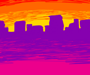 Sunset on a neon purple and pink city
