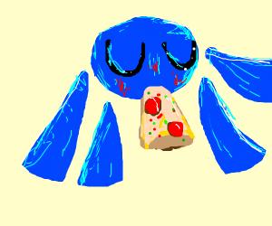 a kawaii octopus eating cheese pizza