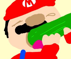 mario eats cucumber
