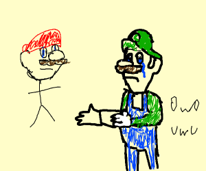 Luigi is sad at lizard eyed mario