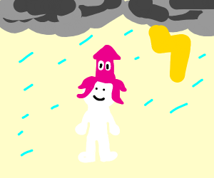 man wearing pink squid as hat during a storm
