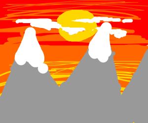 Sun set over mountains
