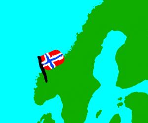 Norway flag on top of norway