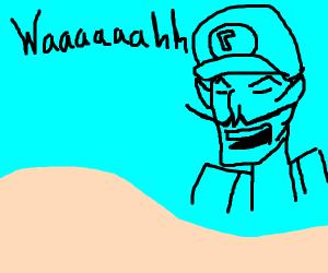 Waluigi waa-ing like the yelling cowboy meme