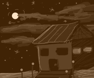 A house on a dark night