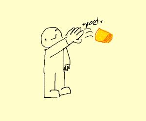 Man throwing taco shell