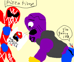 Spiderman bribes Thanos with pizza