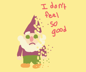 A gnome being snapped away by thanos