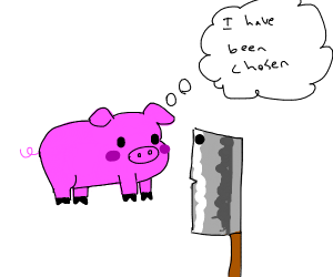 pig accepts happily that he'll be bacon