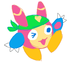 A kirby, umbreon, penguin, squirtle hybrid