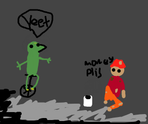Dat Boi yeets on a hobo