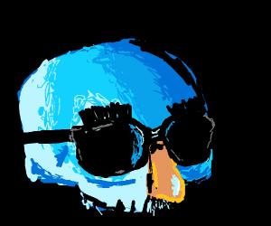 skull with prank glasses
