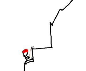stickmen climbing a very boxy mountain