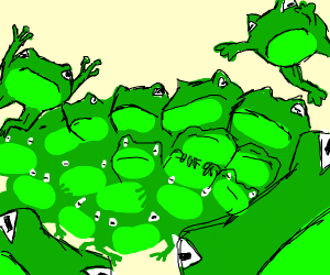 An extreme amount of frogs