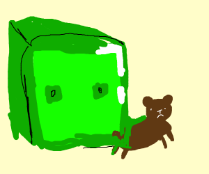 Giant Minecraft slime consumes real bear