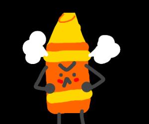 angry yellow crayon