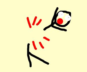 A stickman broke in half