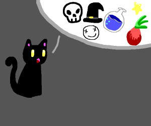 Cat telling spooky story
