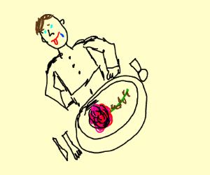 guy eats rose