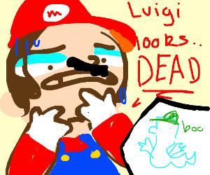 "Mario walks on Luigi saying ""Luigi looks dead"