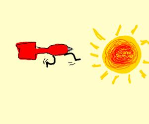 dart running into the sun