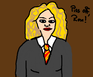 """hermione saying """"piss off ron."""""""