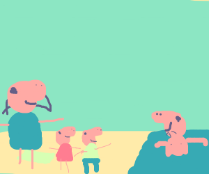 Peppa Pig's family by the beach